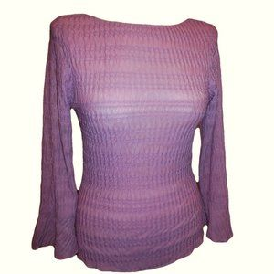 Top Knit long sleeve crincle lilac color blouse